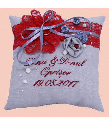 Perna verighete cu funda rosie personalizata