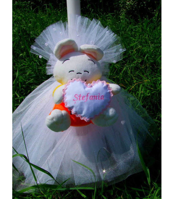 Lumanare botez personalizata ursulet roz