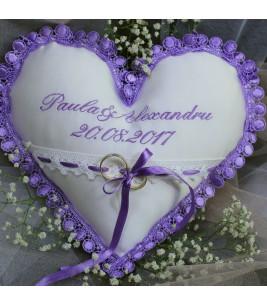 Perna verighete personalizata inimioara lila