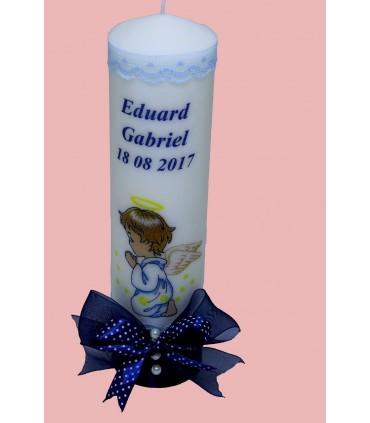Lumanare botez personalizata printata cu ingerasul Rafael