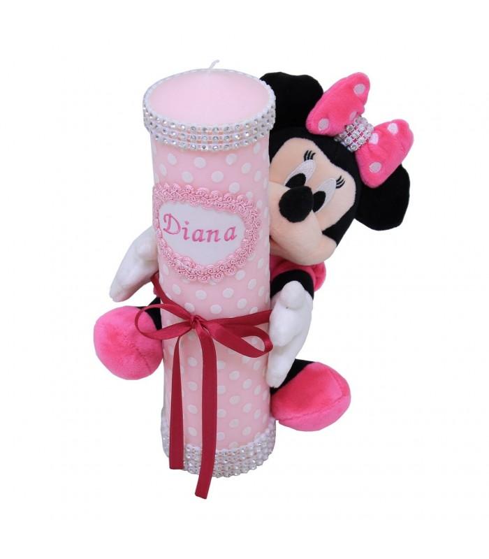 Lumanare Botez Scurta Cu Jucarie Minnie Mouse