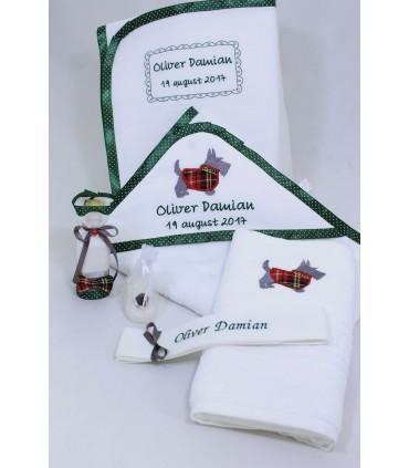 Trusou botez personalizat catelusul scotian