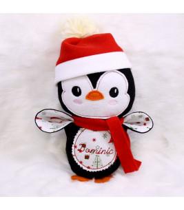 Jucarii personalizate bebelusi - Jucarie personalizata pinguinul Mos Craciun