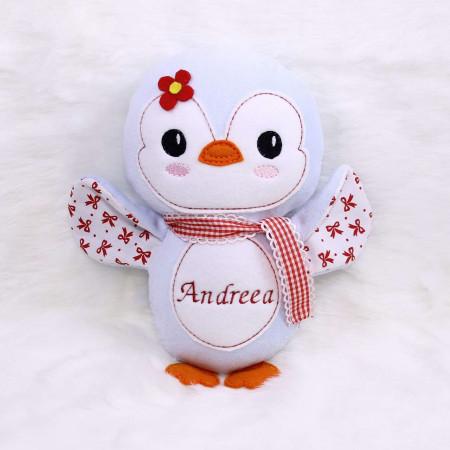Jucarii personalizate bebelusi - Jucarie personalizata cu nume model pinguin Andreea