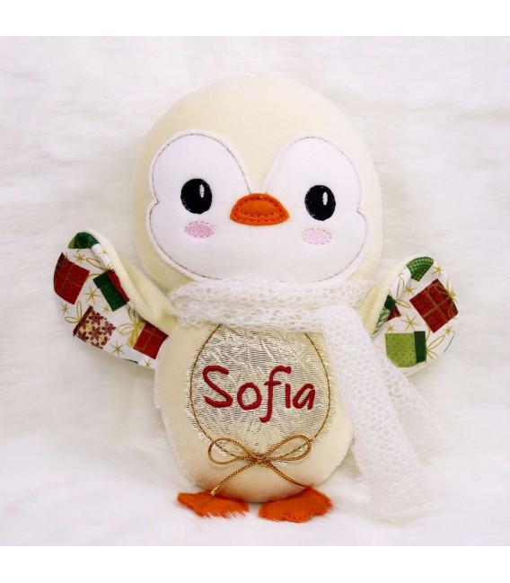 Jucarii personalizate bebelusi - Jucarie personalizata cu nume model pinguin Sofia