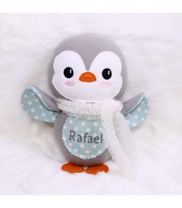 Jucarii personalizate bebelusi - Jucarie pinguin de plus brodata si personalizata model Rafael