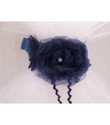 Lumanare botez personalizata floare albastra