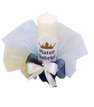 Lumanare botez micul print coroana model 30 cm inaltime 6 cm diametru