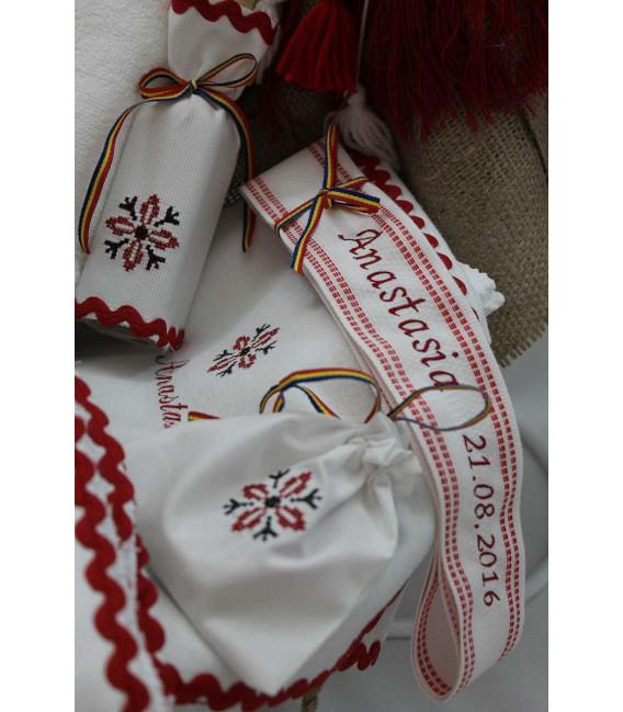 Trusouri botez traditionale - Trusou Botez Traditional Fetite Complet stelute rosii