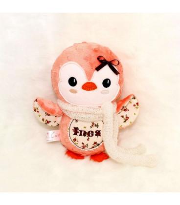 Jucarii personalizate bebelusi - Cadou de Craciun jucarie de plus pinguin brodat cu numele Ines