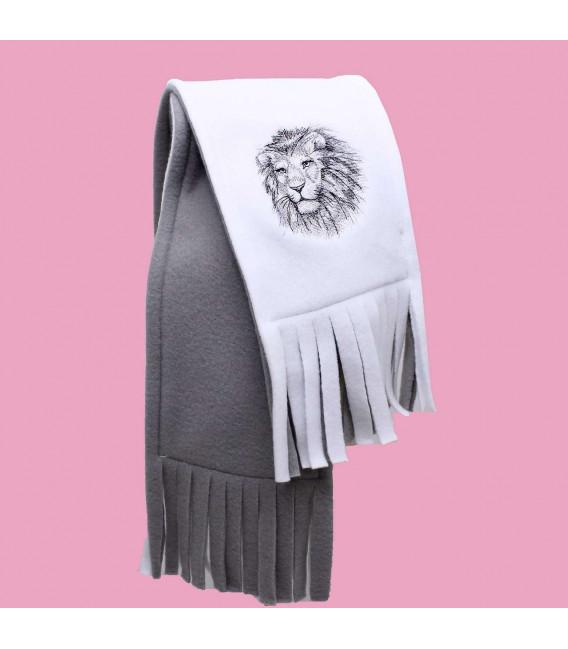 Fular barbati cu broderie leu din polar dublu in 2 culori