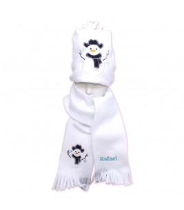More about Fular plus caciula personalizate cu broderie om de zapada  din polar culoare alba