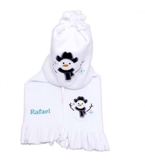 Fular plus caciula personalizate cu broderie om de zapada din polar culoare alba