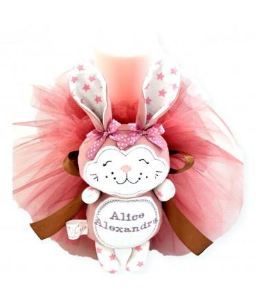 Lumanare botez cu jucarie handmade personalizata iepuras roz