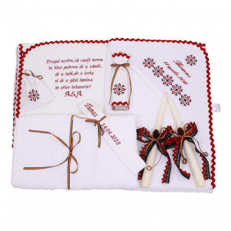Trusouri botez traditionale - Trusou botez traditional model 10 piese broderie stelute