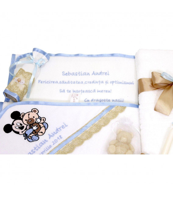 Trusou botez personalizat in zece piese Mickey Mouse si ursulet