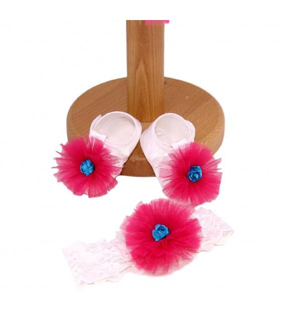 Rochita botez fetite balon si flori brodate