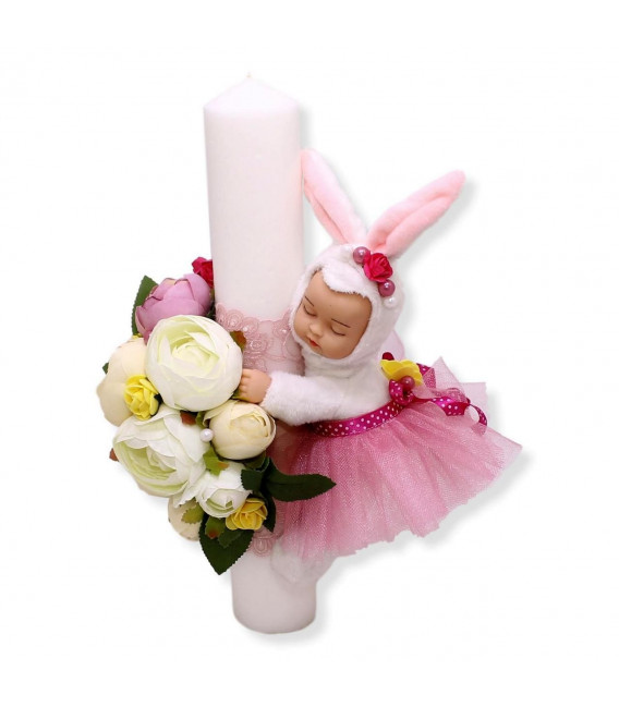 Lumanare botez personalizata bebelusul iepuras