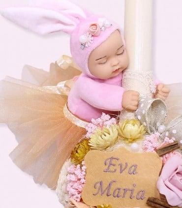 Lumanare botez fetite bebelus iepuras