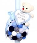 Lumanare de botez  cu gheme bleu si ursulet