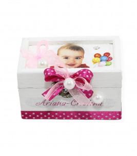 Cutie prima suvita din lemn fetite cu poza
