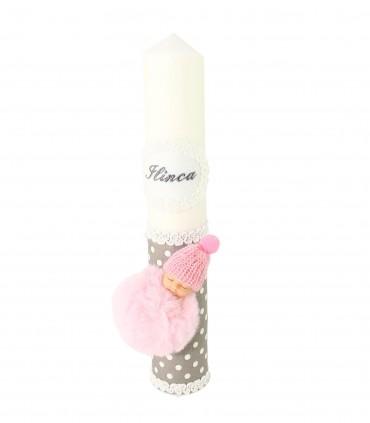 Lumanare de botez personalizata Pufu-roz