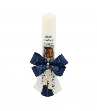 Lumanare de botez personalizata cu poza Ryan