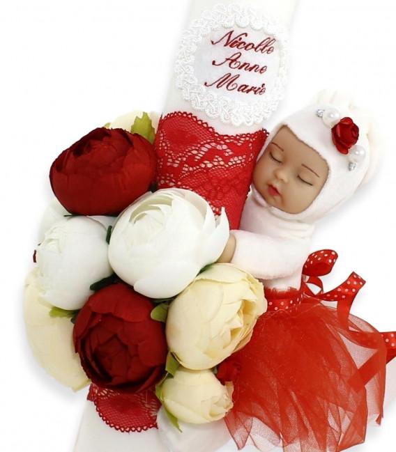 Lumanare botez iepurasul cu tutu rosu
