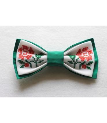 Papion verde brodat pentru femei floare rosie cu verde