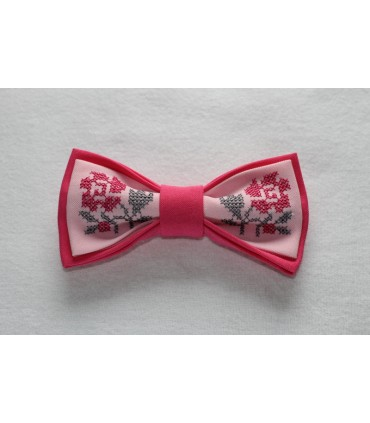 Papion roz brodat pentru femei floare roz cu gri