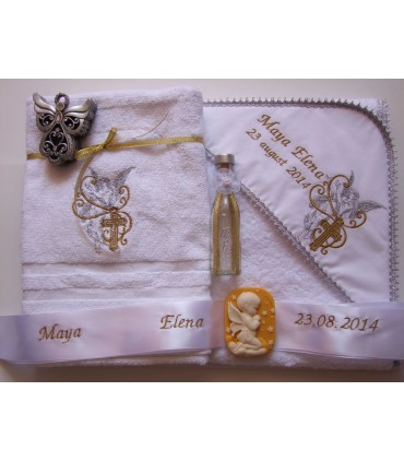 Trusou Botez Personalizat Ingeras si Cruce Argintiu