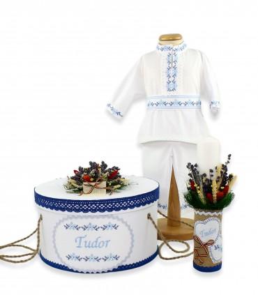Trusouri botez traditionale - Trusou botez băieți complet cu motive traditionale Tudor