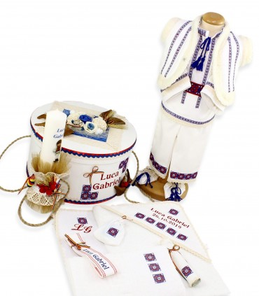 Trusouri botez traditionale - Set botez complet băieți traditional personalizat Luca