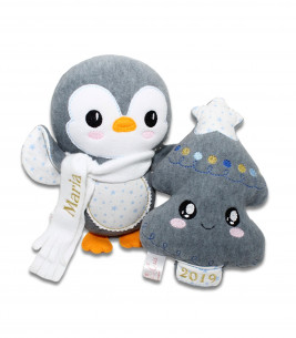 Set personalizat cadou de Crăciun bradut si pinguin Maria