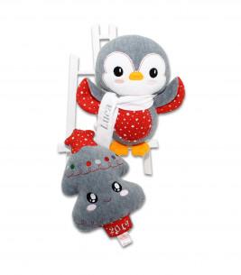 Jucarii personalizate bebelusi - Cadou Crăciun bradut si pinguin personalizati Luca