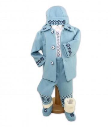 Costum popular botez iarna bleu Alexandru