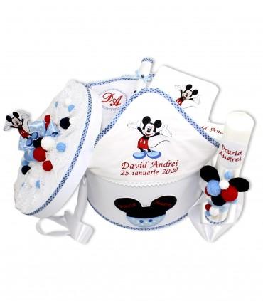 Set botez complet cu lumanare si cutie Mickey Mouse nazdravan  - Trusouri  Botez Complete