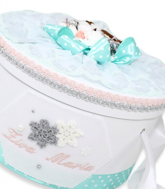 Set trusou botez premium si cutie decorata fulgi de nea