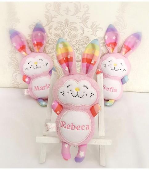 Jucarii personalizate bebelusi - Jucarii personalizate bebelusi iepuras roz Rebeca