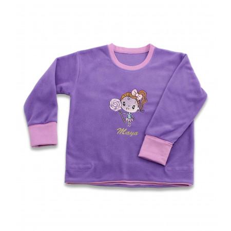 Bluza fete micropolar mov cu decolteu la baza gatului, brodata, personalizata cu nume