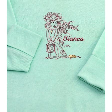 Bluza de bumbac pentru fete cu decolteu la baza gatului verde mint, brodata, personalizata