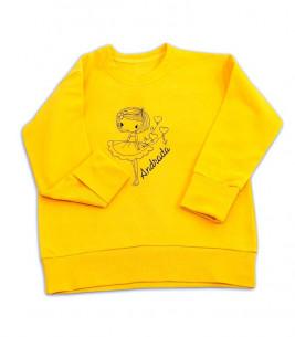 More about Bluza fete de bumbac, galbena cu broderie gri personalizata