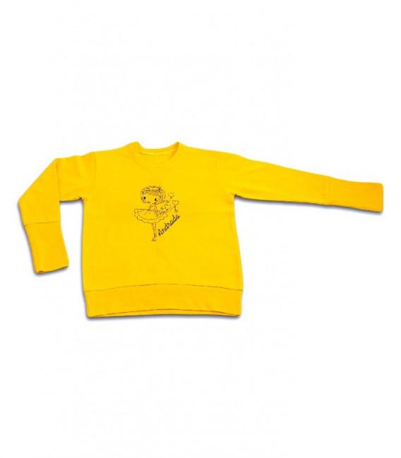 Bluza fete de bumbac, galbena cu broderie gri personalizata