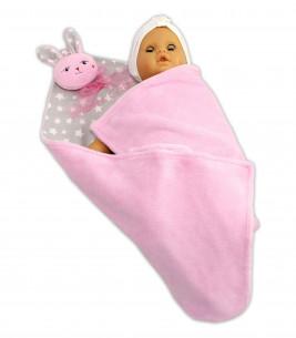 Jucarii personalizate bebelusi - Paturica personalizata cu jucarie iepuras roz
