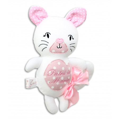 Jucarii personalizate bebelusi - Pisicuța albă, personalizată