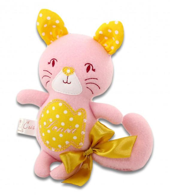 Jucarii personalizate bebelusi - Pisicuța roz, personalizată
