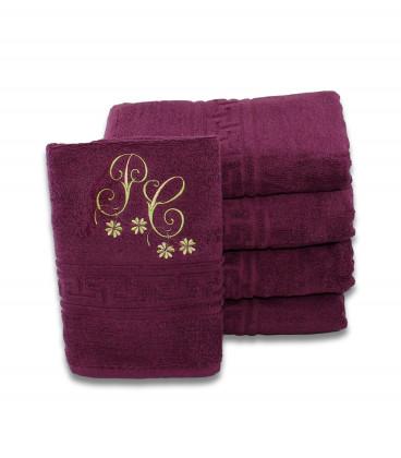 Prosop personalizat cu monograme pentru fata sau dus mov violet