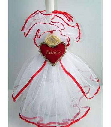 Lumanare botez personalizata inimioara rosie