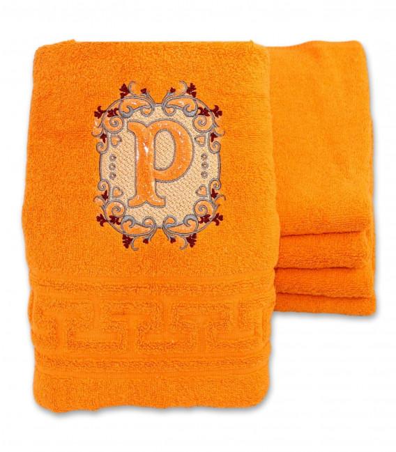 Prosop personalizat portocaliu cu monograma eleganta