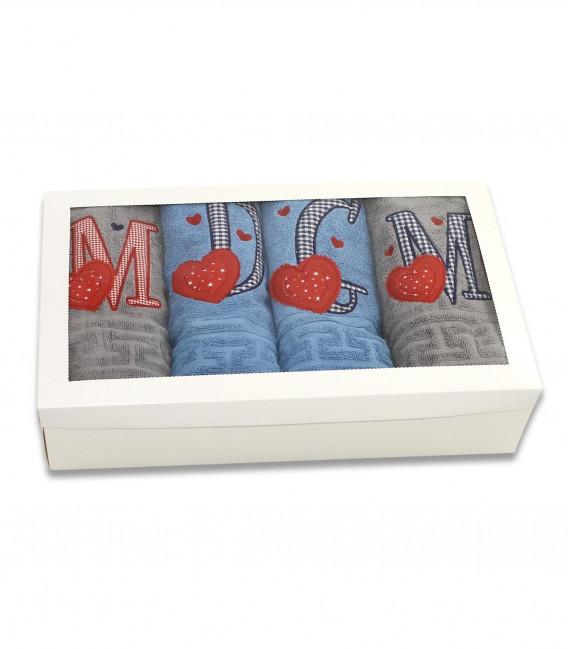 Set 4 prosoape de baie personalizate cu monograme